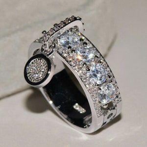 Akan Saphire Drop 925 Silver Ring sz 8
